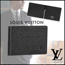 Louis Vuitton TAIGA Plain Leather Folding Wallets