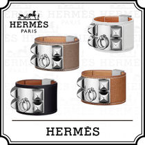 HERMES Collier de Chien Blended Fabrics Studded Leather Bracelets