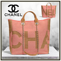 CHANEL Calfskin A4 2WAY Chain Elegant Style Totes
