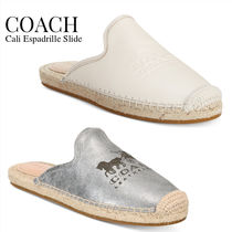 Coach Rubber Sole Casual Style Leather Logo Sandals Sandal