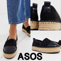 ASOS Platform Casual Style Faux Fur Plain Lace-Up Shoes