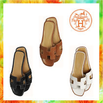 HERMES Oran Open Toe Casual Style Plain Leather Sandals