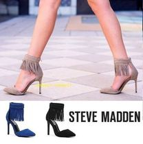 Steve Madden Open Toe Suede Blended Fabrics Plain Pin Heels Party Style