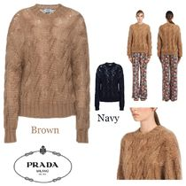PRADA Crew Neck Cable Knit Casual Style Wool Long Sleeves Plain