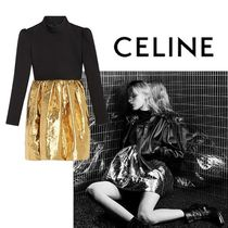 CELINE Casual Style Silk Blended Fabrics Street Style Bi-color