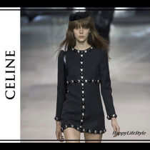 CELINE Crew Neck Short A-line Wool Studded Long Sleeves Plain