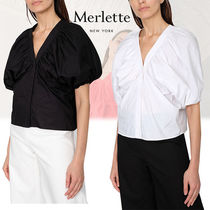 merlette Puffed Sleeves Cotton Shirts & Blouses