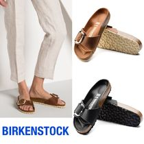 BIRKENSTOCK Open Toe Casual Style Leather Footbed Sandals Flat Sandals