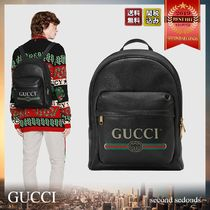 GUCCI Unisex A4 Leather Backpacks