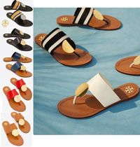 Tory Burch Open Toe Rubber Sole Leather Flip Flops Flat Sandals