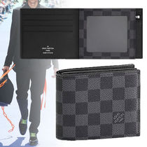 Louis Vuitton DAMIER GRAPHITE Unisex Calfskin Street Style Folding Wallets