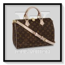 Louis Vuitton SPEEDY Monogram Casual Style Canvas Blended Fabrics 2WAY Handbags