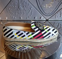Christian Louboutin Stripes Unisex Blended Fabrics Leather Loafers & Slip-ons