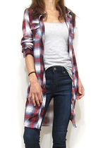 Zigzag Casual Style Long Sleeves Long Shirts & Blouses