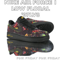 Nike AIR FORCE 1 Flower Patterns Unisex Suede Blended Fabrics Street Style