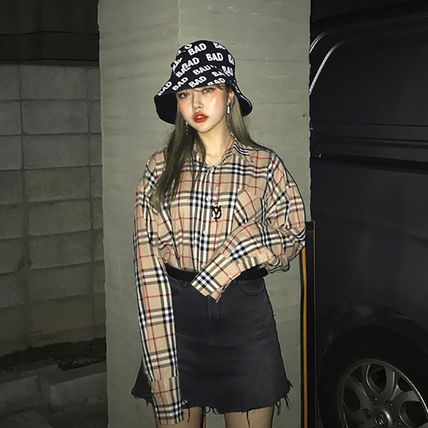 Shirts Other Check Patterns Unisex Street Style Long Sleeves Cotton 3
