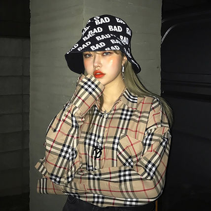 Shirts Other Check Patterns Unisex Street Style Long Sleeves Cotton 4