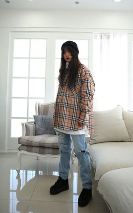 Shirts Other Check Patterns Unisex Street Style Long Sleeves Cotton 8