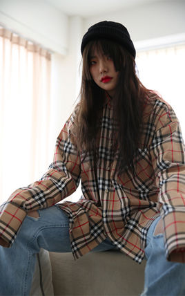 Shirts Other Check Patterns Unisex Street Style Long Sleeves Cotton 9