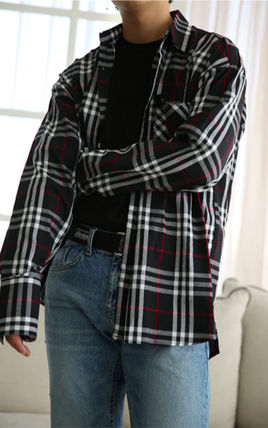 Shirts Other Check Patterns Unisex Street Style Long Sleeves Cotton 13