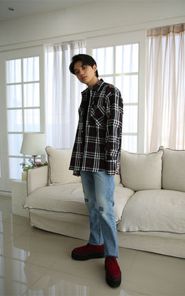 Shirts Other Check Patterns Unisex Street Style Long Sleeves Cotton 16