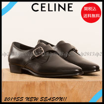 CELINE Blended Fabrics Plain Leather Office Style Flats