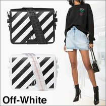 Off-White BINDER CLIP Stripes Casual Style Unisex Saffiano 2WAY Shoulder Bags