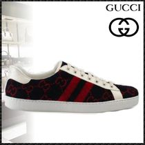 GUCCI Ace Stripes Sheepskin Blended Fabrics Street Style Sneakers
