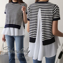Crew Neck Stripes Casual Style Medium Short Sleeves Sweaters
