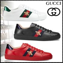 GUCCI Ace Stripes Blended Fabrics Street Style Other Animal Patterns