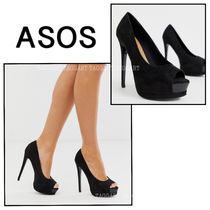 ASOS Open Toe Platform Casual Style Faux Fur Blended Fabrics