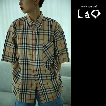 Shirts Other Check Patterns Unisex Street Style Cotton