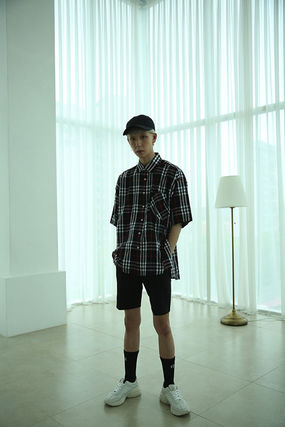 Shirts Other Check Patterns Unisex Street Style Cotton 7