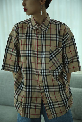 Shirts Other Check Patterns Unisex Street Style Cotton 13
