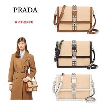 PRADA ELEKTRA Blended Fabrics 2WAY Leather Shoulder Bags