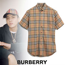 Burberry Tartan Street Style Cotton Short Sleeves Shirts