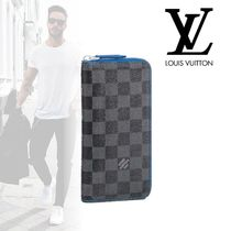 Louis Vuitton DAMIER GRAPHITE Other Check Patterns Street Style Leather Long Wallets