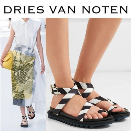 8838555804 Dries Van Noten. Sandals.  959.14 USD. Stripes Blended Fabrics Bi-color  Leather Pin Heels