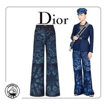 Christian Dior Flower Patterns Cotton Long Wide & Flared Jeans