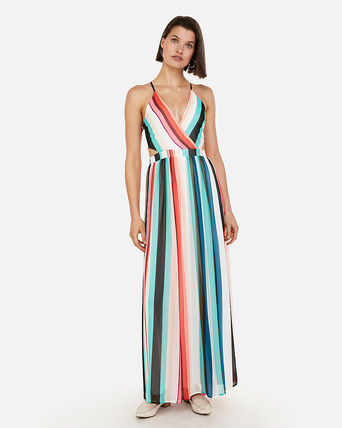 Stripes Maxi V-Neck Party Style Dresses