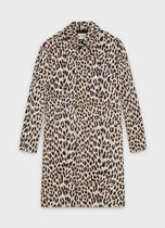 CELINE Stand Collar Coats Leopard Patterns Long Coats