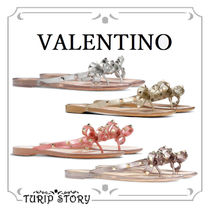 VALENTINO Open Toe Casual Style Studded Sandals