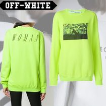 Off-White Crew Neck Long Sleeves Cotton Hoodies & Sweatshirts