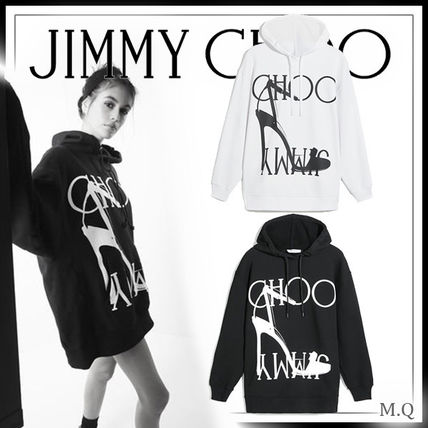 Jimmy Choo Hoodies & Sweatshirts Unisex Street Style Long Sleeves Cotton Medium