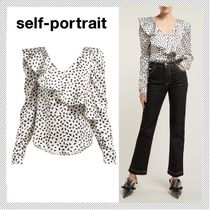 SELF PORTRAIT Dots Lace-up Long Sleeves Medium Office Style