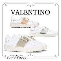 VALENTINO Plain Toe Rubber Sole Casual Style Studded Leather