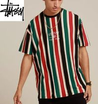 STUSSY Crew Neck Stripes Street Style Cotton Short Sleeves