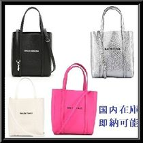 BALENCIAGA EVERYDAY TOTE Casual Style Street Style 3WAY Plain Leather Totes