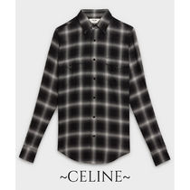 CELINE Other Check Patterns Unisex Street Style Long Sleeves Shirts