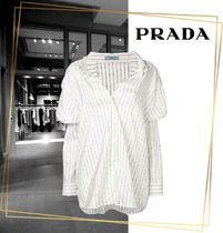 PRADA Stripes Casual Style Long Sleeves Cotton Shirts & Blouses